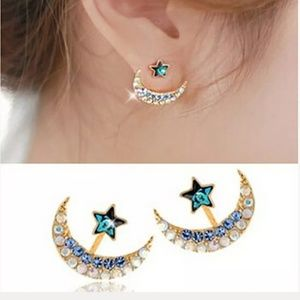 Rhinestone Crescent Moon and Star Unique Earrings.